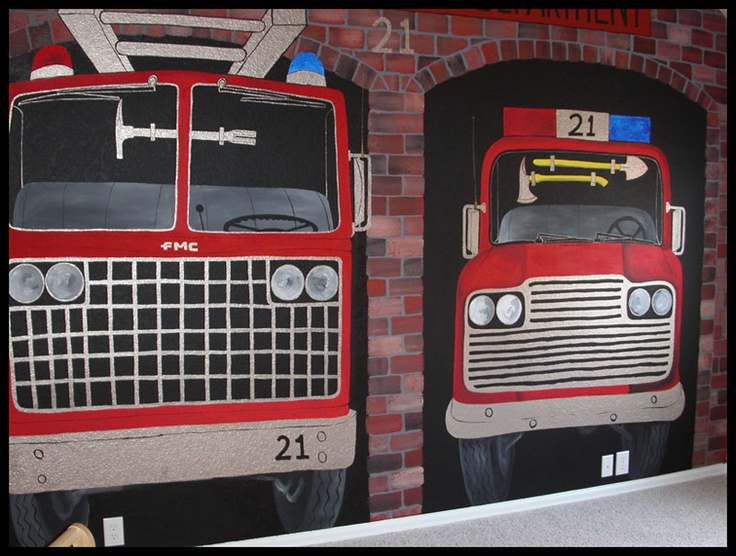 Fire House Mural With Fire Trucks