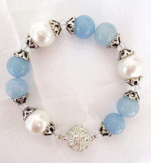 Shell pearl and blue agate, keiraann.com