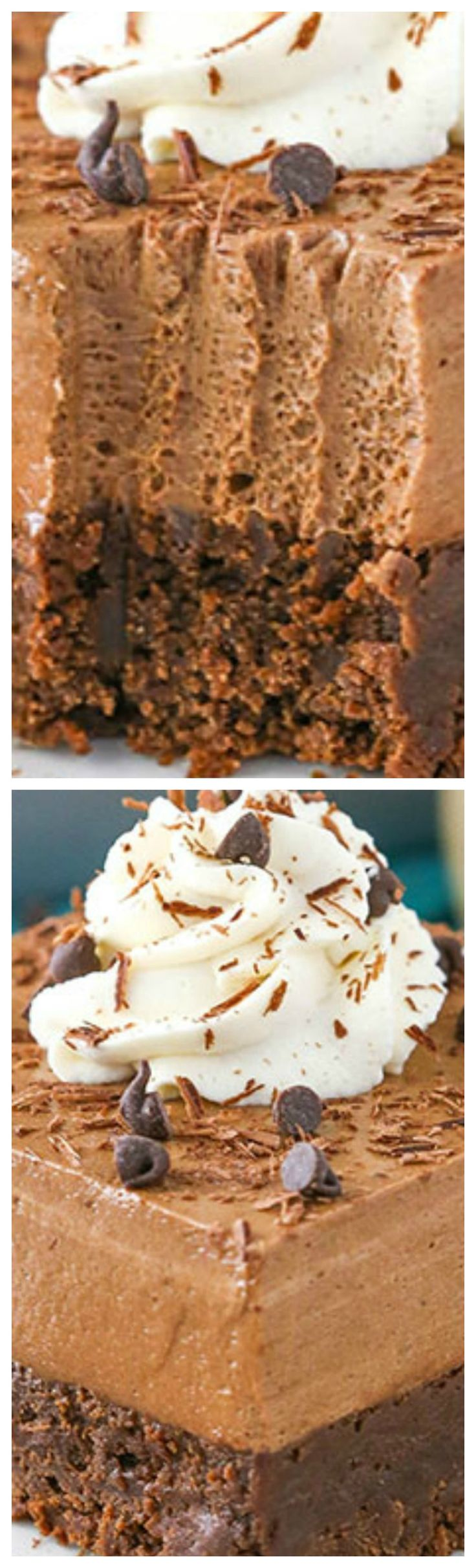 Baileys Chocolate Mousse Brownie Cake ~ With a dense, delicious brownie on the bottom and smooth Baileys chocolate mousse on top, you won't be able to stop eating it!