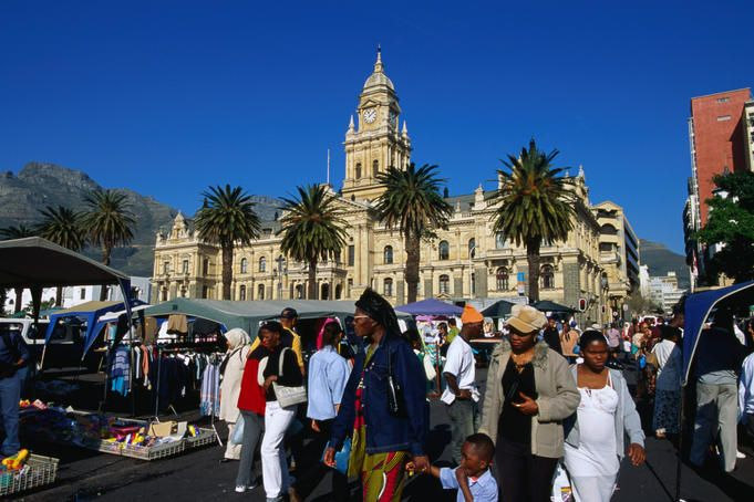 Market on Grand Parade and old Town Hall.