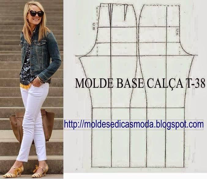 MOLDE BASE CALÇA CLÁSSICA T-38 ~ Moldes Moda por Medida