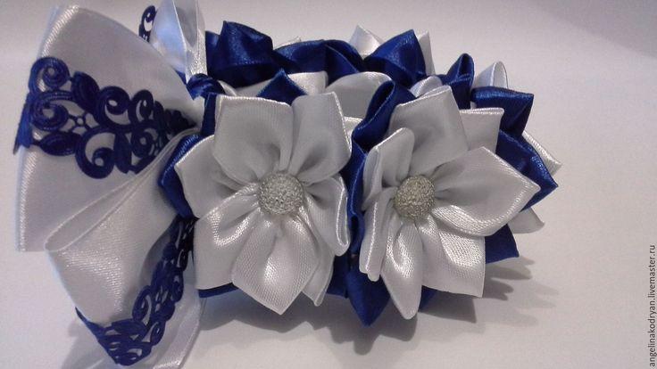 Купить Украшение резинка на пучок(гульку) бело-синяя - белый, синий, офис, офисный стиль