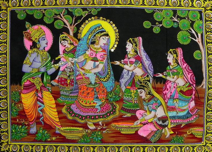Krishna Playing Holi with Radha and Other Gopinis (Print on Cloth with Sequin Work - Unframed))
