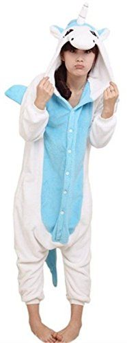 "ABING Halloween Pajamas Homewear OnePiece Onesie Cosplay Costumes Kigurumi Animal Outfit Loungewear - Adult M-for Height 62.6""-65.3""(159-166cm), Blue Unicorn"