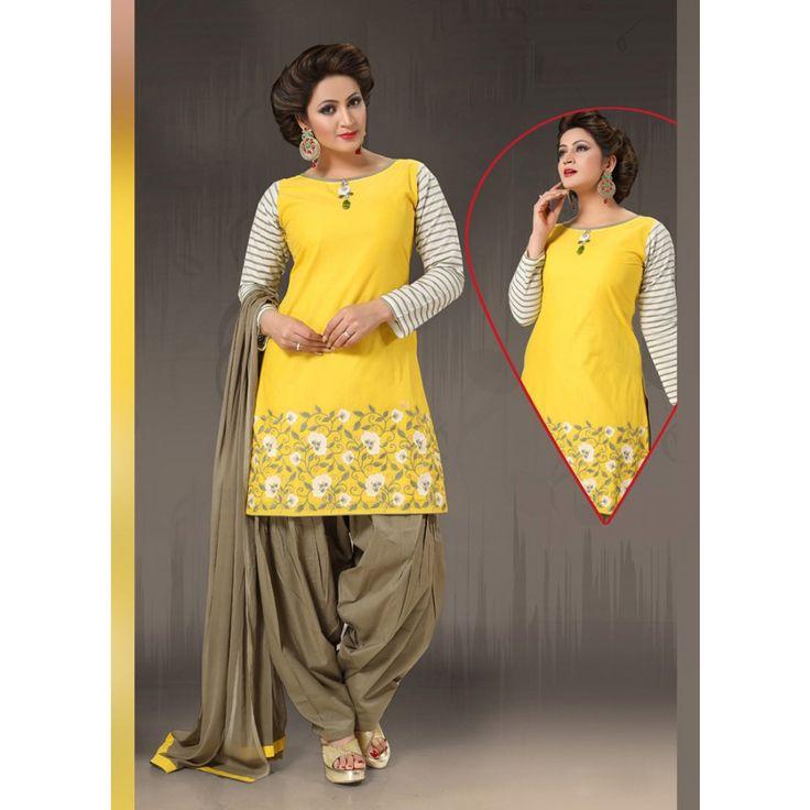Yellow Cotton Readymade #Patiyala Kameez With Dupatta- $53.38