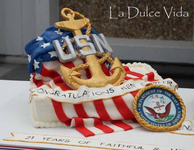u s  navy chief  american flag  fondant anchor  retirement