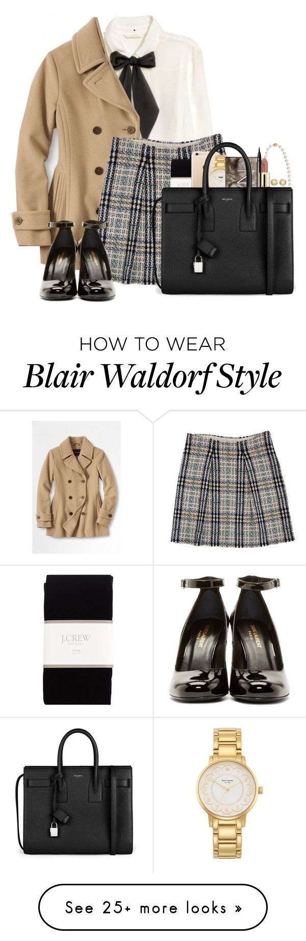 do yourself a favor and stop talking right now blair waldorf by ellapearlrose on Polyvore featuring HM, Lands End, Burberry, Yves Saint Laurent, J.Crew, Kate Spade, Urban Decay, Cobra  Bellamy, NARS Cosmetics and Chanel