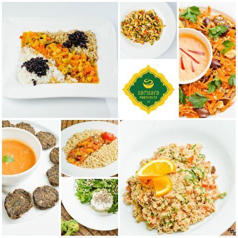 În ordinea apariţiei în colajul fotografic, iată-le: curry cu orez de 3 feluri (vegan), fasole verde cu caju şi tofu (vegană), grâu câmpenesc cu sos de ardei roşu (raw-vegan), chifteluţe de legume cu sos de roşii (raw-vegane), ratatouille (vegan), cuşcuş verde cu spanac marinat (raw-vegan), cuşcuş oriental (vegan). Să fie poftă şi vindecare!