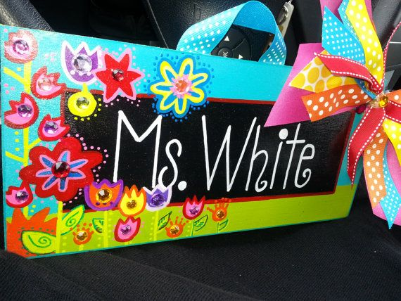 Teacher Name Sign Colorful Flowers by SunshineSignDesigns on Etsy, $40.00