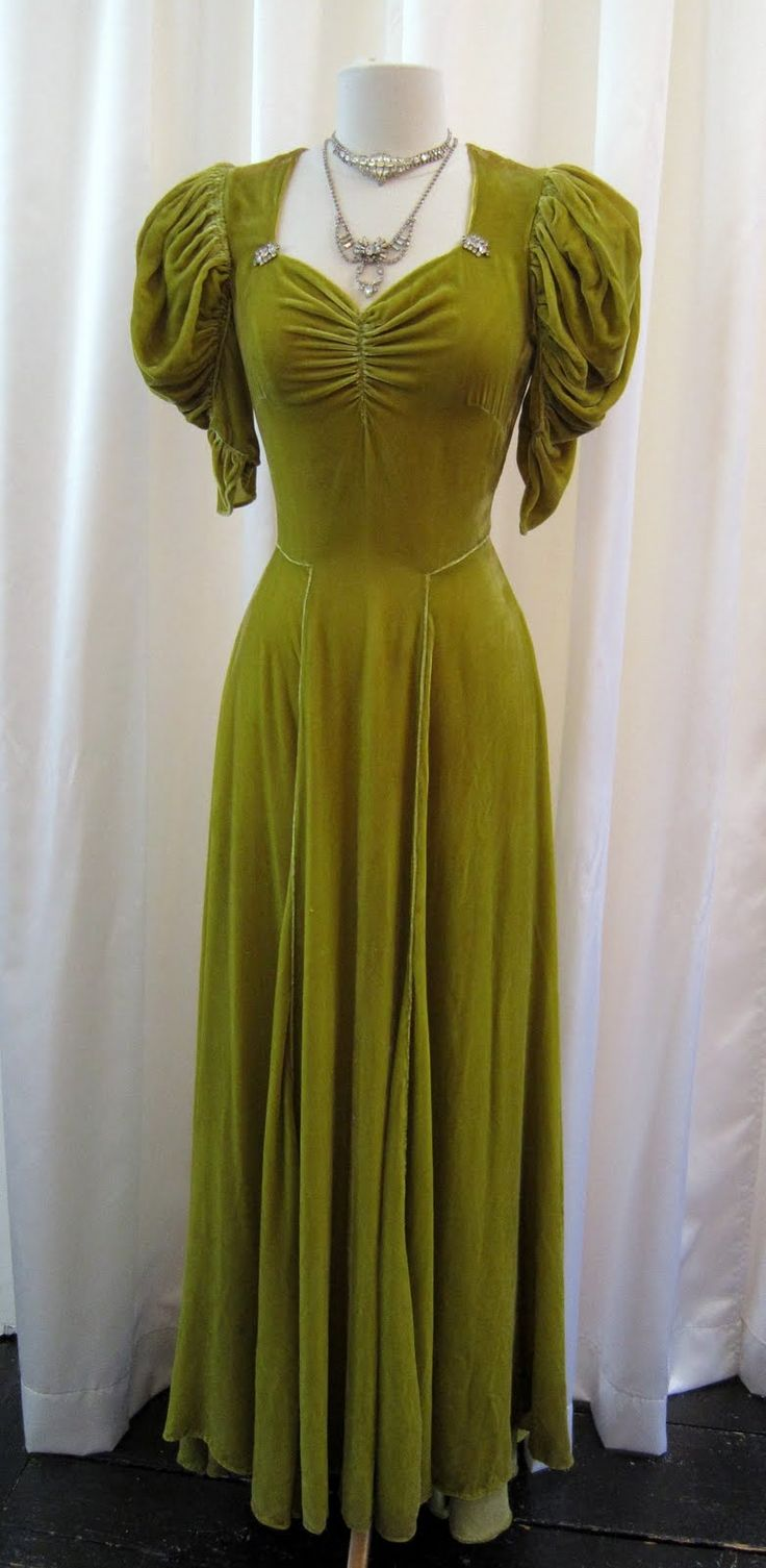 1930s Chartreuse velvet evening gown