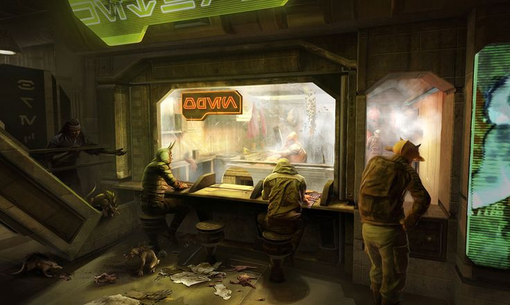 """Food Shop Order Window"" // Star Wars 1313, Game Concept Art (game cancelled after Disney's purchase of SW Property)"