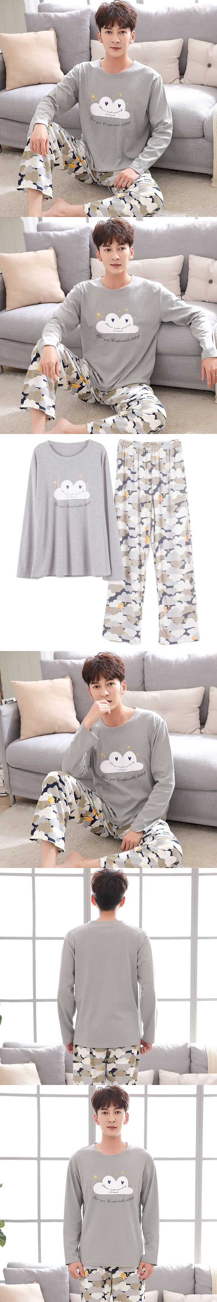 New Arrivals Cotton Cartoon Pajamas Sets For Men Spring Autumn Long Sleeve Pyjamas Male Sleepwear Suit Lounge Wear Home Clothing