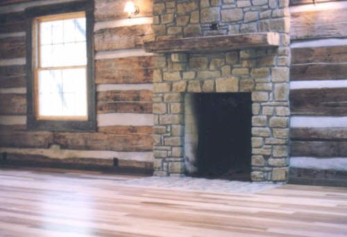 Antique Log Cabin Fireplace Wood Burning Stone Fireplace
