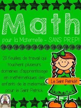 Math pour la maternelle - 20 feuilles d'activité SANS PRÉP avec un thème de la Saint Patrick. Perfect for subs and busy days, just print and go!