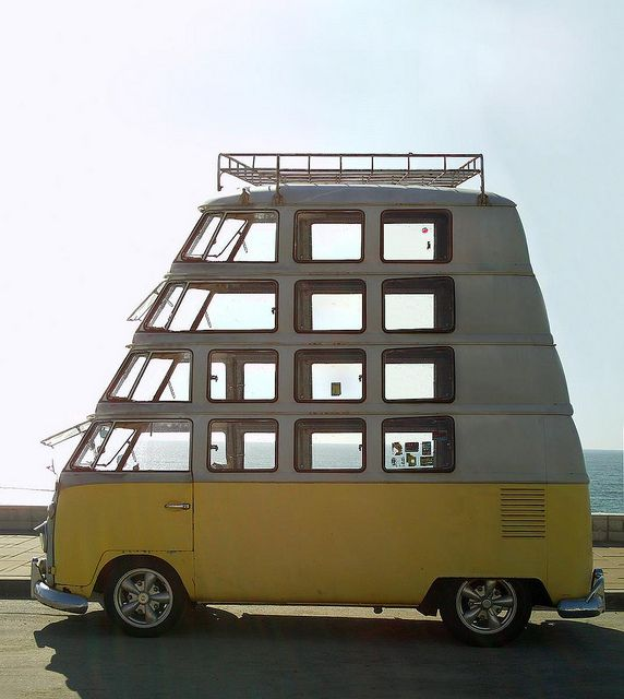 Amazing car .... hmmmm ...  but why?  Perhaps there's a ladder in the back and they're sleeping lofts.