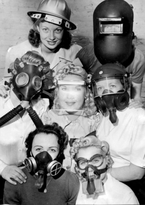 Photos showing an assortment of different WW2 gas masks. #vintage #1940s #WW2