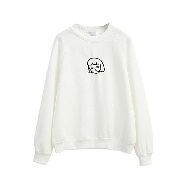 Cartoon Embroidery Round Neck Plain Sweatshirt (190 GTQ) ❤ liked on Polyvore featuring tops, hoodies, sweatshirts, sweaters, embroidered hoodie, white top, cartoon hoodies, sweatshirt hoodies and white hoodie