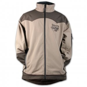 Brown/Khaki. Durable 100% Polyester Bonded Fleece Jacket features Contrasting Western Style Yoke. 3 Outside Pockets and 1 Media Pocket. Drop Tail and Adjustable Cuffs. Contrasting Color Accents on Sleeve. Official 2012 NFR Event Logo Embroidered Tonally on Left Chest. Finals with PRCA Logo Screen-printed on Back Shoulders.
