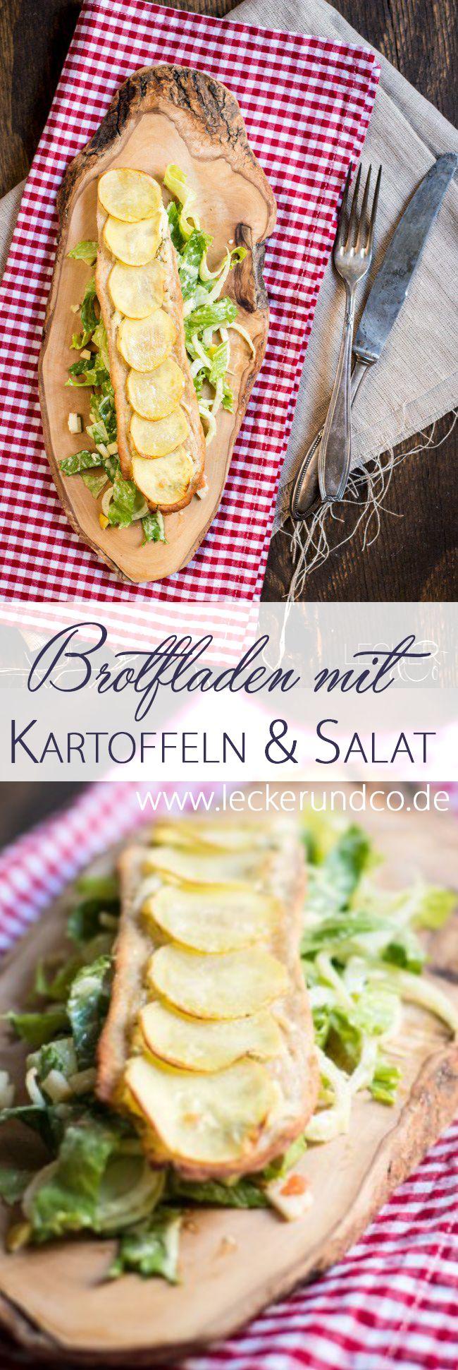 Brotfladen mit Kartoffeln und Salat