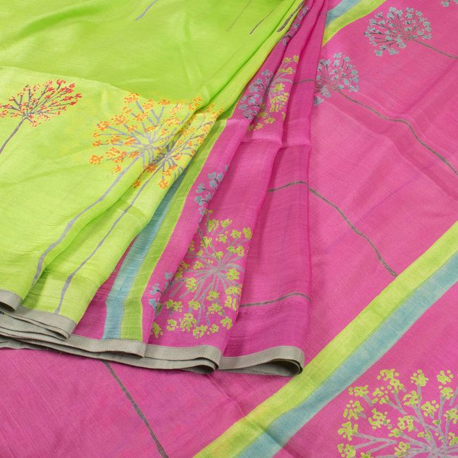 Buy online Hand Block Printed Green & Pink Half and Half Mulberry Silk Saree Without Blouse & Floral Motifs 10013722