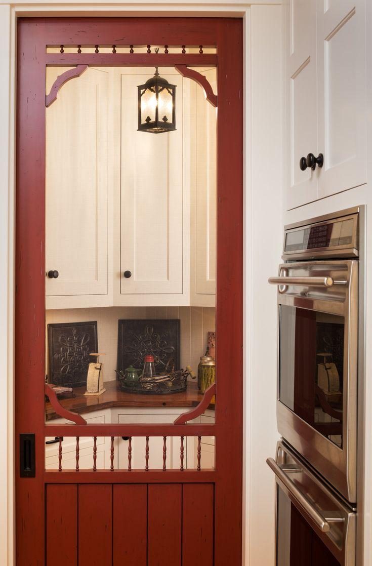 Farmhouse Kitchen Screen Door Leading Into A Butler S