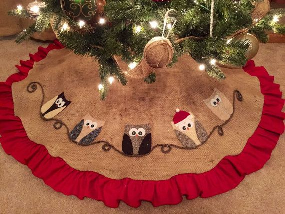 Owl Christmas Tree Skirt - Red Ruffle, burlap, applique, personalized tree skirt