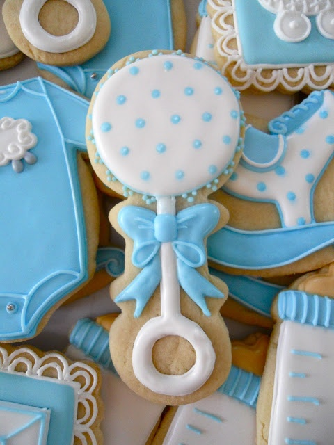 Nice baby rattle cookie by Oh Sugar Events.