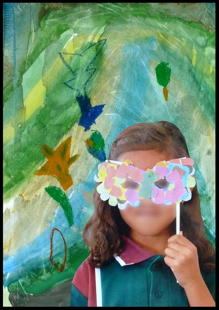 Forest Creatures - Students 'discover' a new creature living in the rainforest! Paper collage mask, watercolour and plastic wrap background with leaves drawn in oil pastel. Student is photographed with mask and photo is printed and collaged onto 'forest'. Prep year.