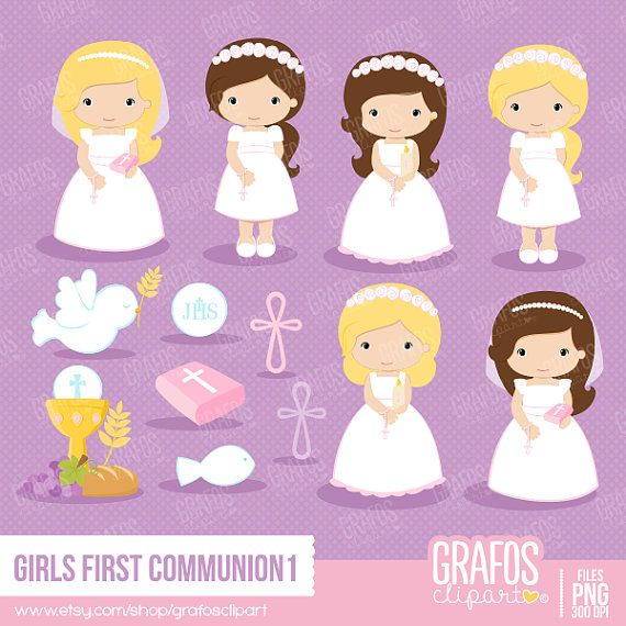GIRLS FIRST COMMUNION 1  Digital Clipart Set My by GRAFOSclipart