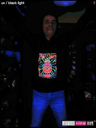 """The Hand"" UV-Blacklight Fluorescent & Glow-In-The-Dark Phosphorescent Psychedelic Art Mens Hoodie, £28 in Tripleview Art Web Shop.  #psychedelic #psy #trance #psytrance #goatrance #rave #trippy #hippie #esoteric #mystic #spiritual #visionary #symbolism #UV #blacklight #fluorescent #fluoro #fluo #neon #glow #glowinthedark #phosphorescent #luminescent #art #hoodie #handoffatima #hamsa #khamsa #amulet #ankh #lotus"