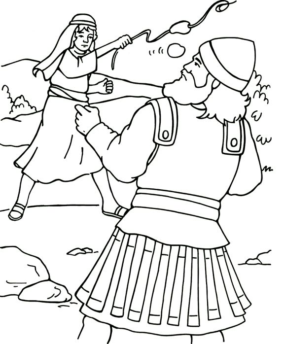 David And Goliath Fighting Coloring Page