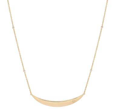 Sterling Silver Yellow Gold Vermeil Diamonds Moon Necklace