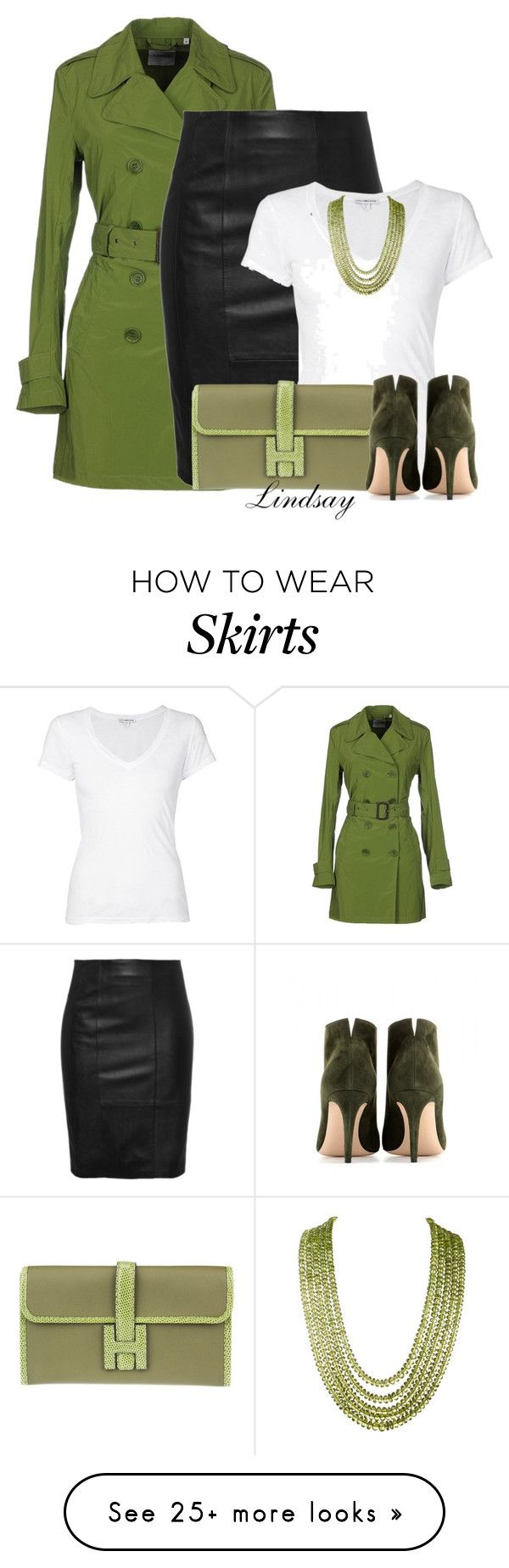 """STAND Sally Pencil Black Leather skirt"" by lindsayd78 on Polyvore featuring Aspesi, James Perse, Hermès and Gianvito Rossi"