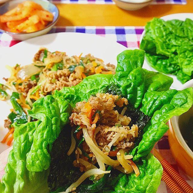 . . ●プルコギ ●ねぎ塩スープ ●サンチュ ●韓国海苔 ●カクテキ . プルコギが美味しすぎました! . 夫にも絶賛されて嬉しいです♪ . また作ろう( ◠‿◠ ) . 3/21/29 #夕食#夜ごはん#dinner#プルコギ#韓国海苔#韓国料理#焼肉#カクテキ#肉