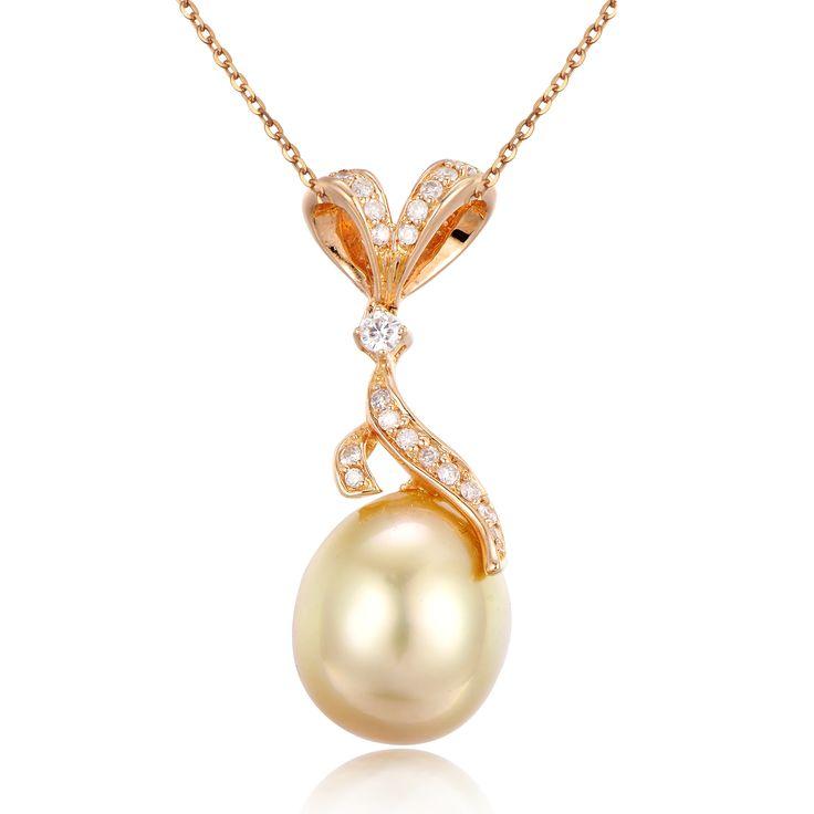 Golden South Sea Pearl Diamond Pendant