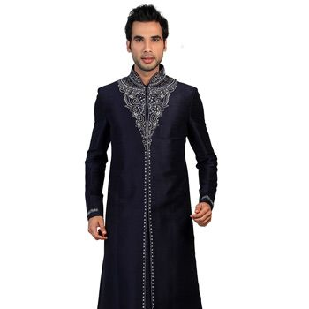 Navy Blue Art Silk Readymade Sherwani