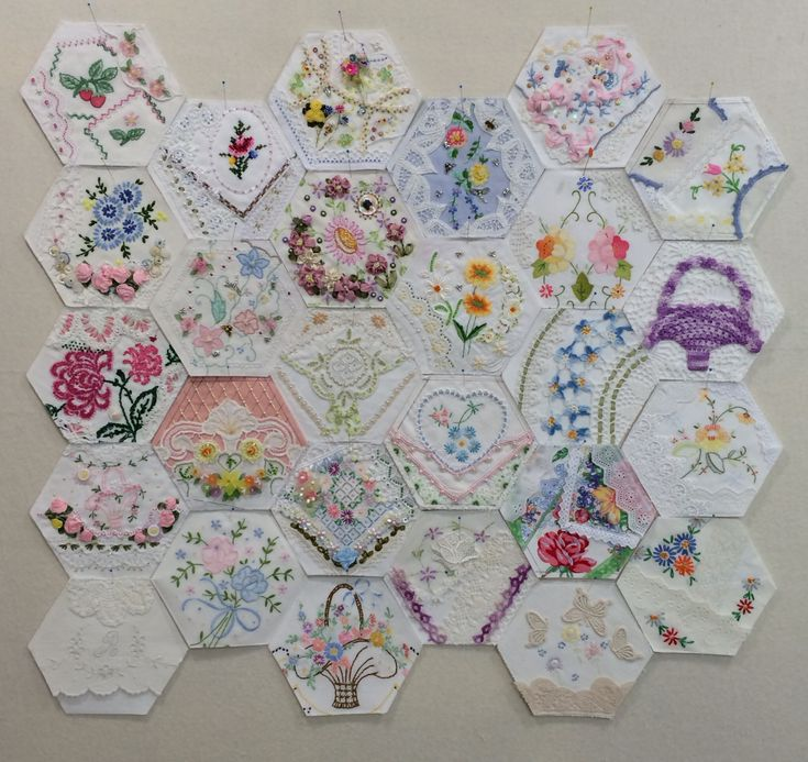 27 hexagons, some finished, some waiting to be embellished. by Rhonda Dort