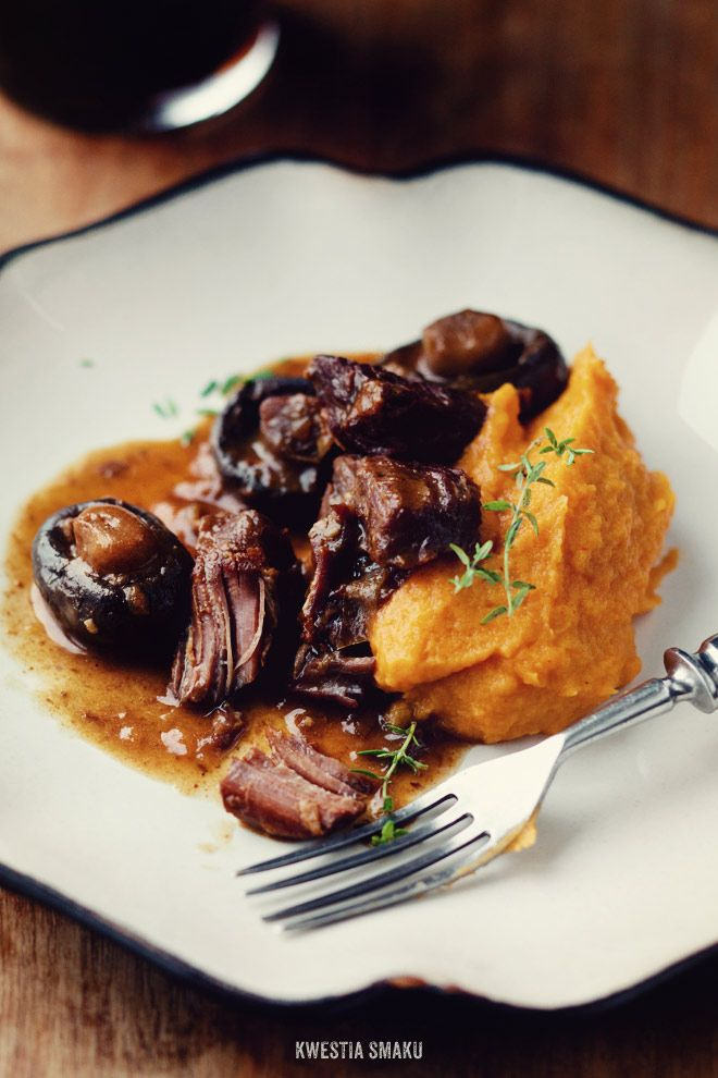 Beef and Guinness stew with mushrooms - at least 3.5hrs prep time. Served with spicy sweet potato purée.