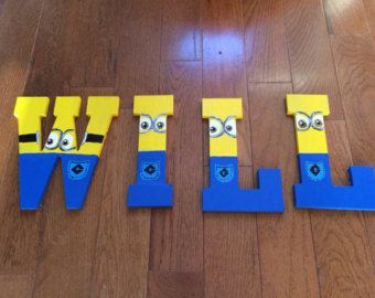 Wooden Minion Letters Minion Name by VannessasCreations on Etsy