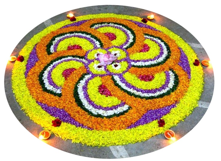Rangoli design made of flowers