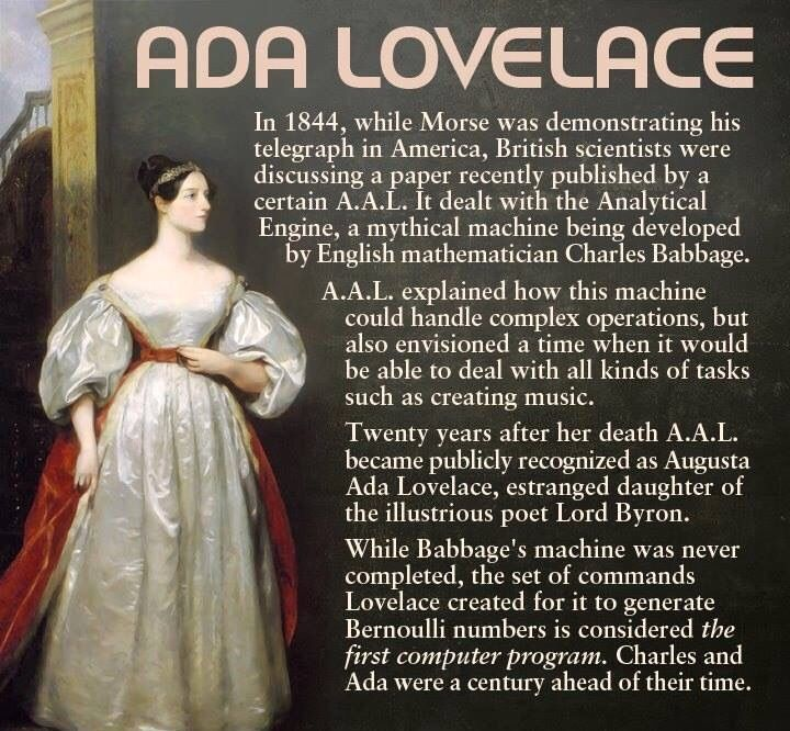 Ada Lovelace inventor of the first computer program language.