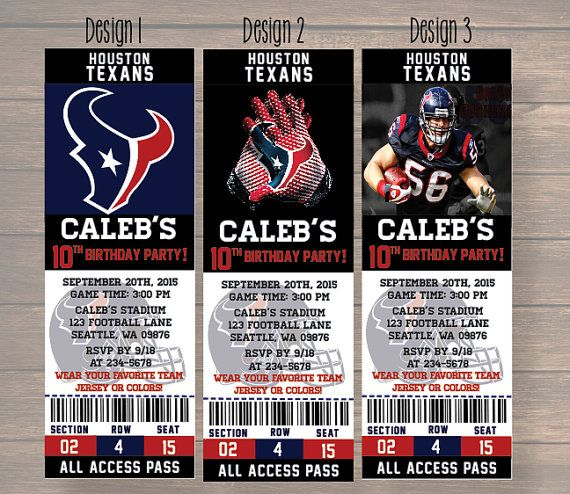 houston texans Custom Party Ticket Invitations by Onthegoprints