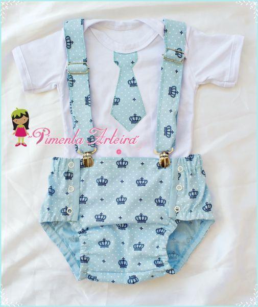 Conjunto infantil Masculino com tapa fraldas e suspensório e body personalizado