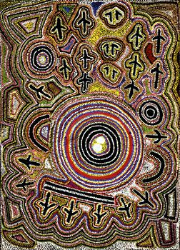 Australian Aboriginal art. 'Wedge-Tailed Eagle Dreaming'. Paddy Japaljarri Sims.