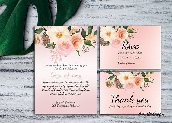 Rosegold wedding invitationRsvp cardThank you cardPinkRose