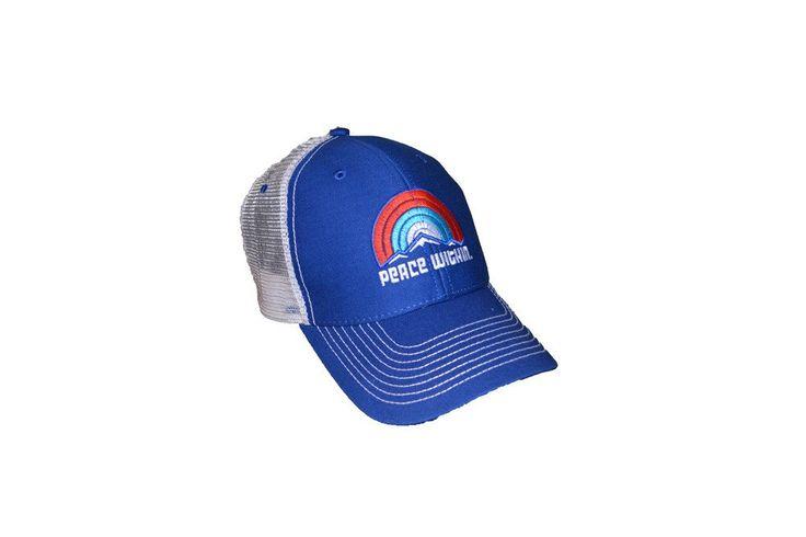 Peace-Within Trucker hat Royal, rainbow/mtn logo