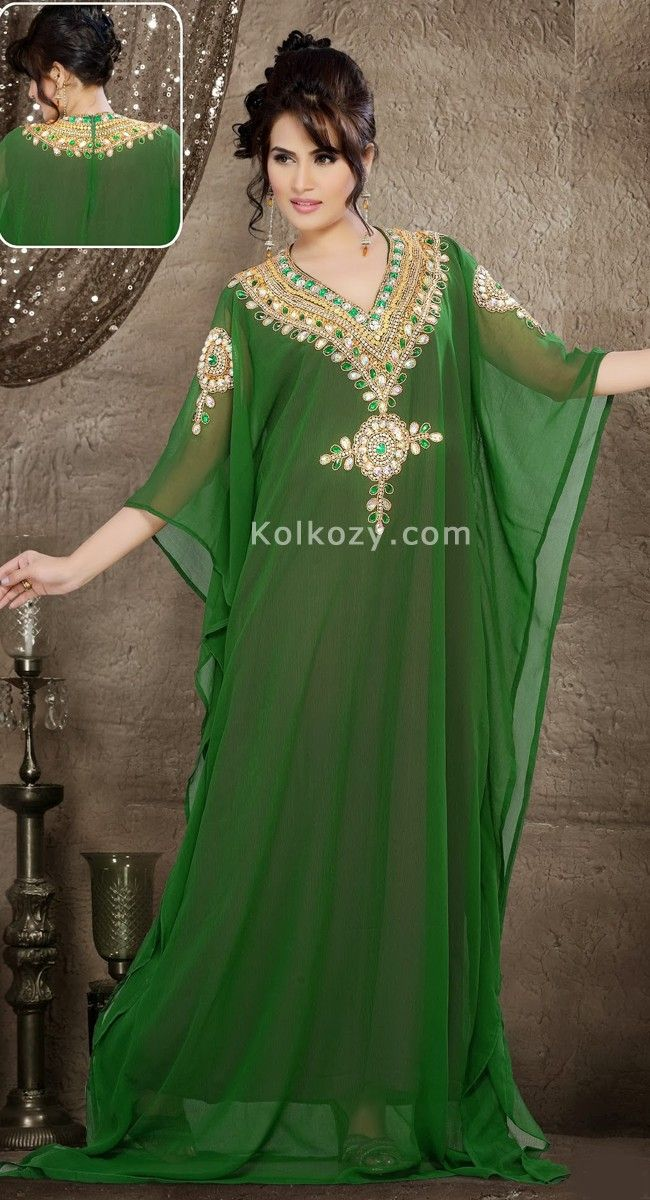 Get exclusive hand beaded embroidery work looks you so much gorgeous with elegant Green Color Faux Georgette Designer Kaftan.