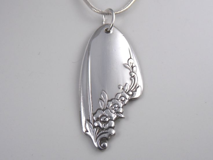Silver Spoon Necklace, Hand CARVED Silver Pendant, Spoon Jewelry, Spoon Pendant, Silverware Pendant, Vintage Wedding - 1946 QUEEN BESS