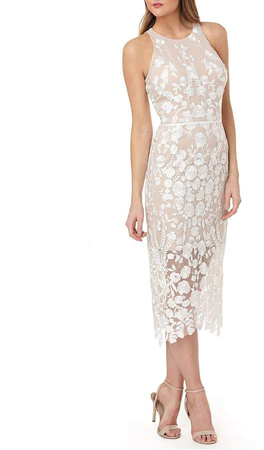 3ad4a186838 Js Collections JS Collections Embroidered Sheath Midi Dress