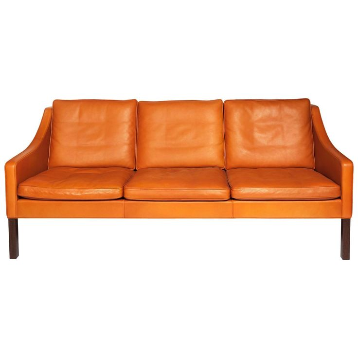 Etonnant Børge Mogensen, Orange Leather Three Seat Sofa, 1960s